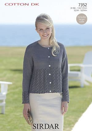 Sirdar Cotton DK Cardigan with Cables Knitting Pattern 7352