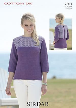 Sirdar Cotton DK Contrast Lace Top Knitting Pattern 7503
