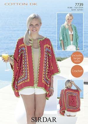 Sirdar Cotton DK Kimono Jackets Crochet Pattern (Larger sizes) 7739 REDUCED £1