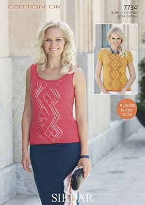 Sirdar Cotton DK Top and Vest Knitting Pattern 7734