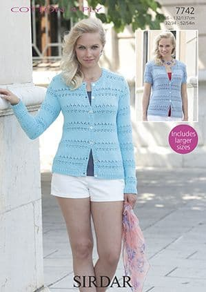 Sirdar Cottton 4 Ply Cardigans Knitting Pattern 7742