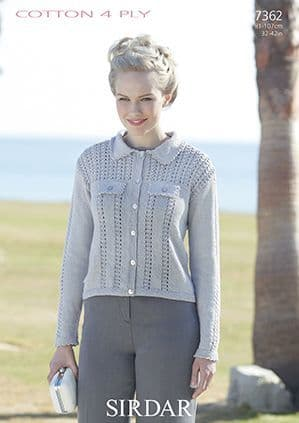 Sirdar Cottton 4 Ply Jacket Knitting Pattern 7362