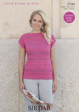 Sirdar Cottton 4 Ply Pretty Top Knitting Pattern 7744