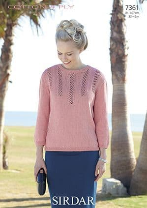Sirdar Cottton 4 Ply Sweater Knitting Pattern 7361