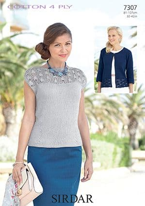 Sirdar Cottton 4 Ply Top and Cardigans Knitting Pattern 7307