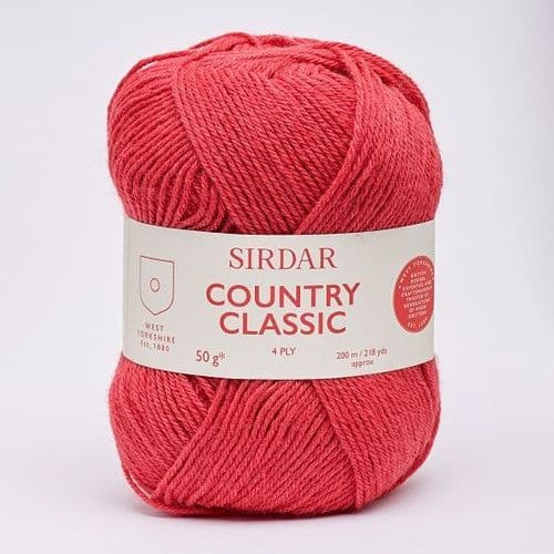 Sirdar Country Classic 4ply 970 Cherry Red