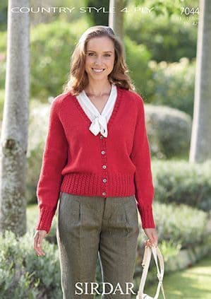 Sirdar Country Style 4 ply Cardigan Knitting Pattern 7044