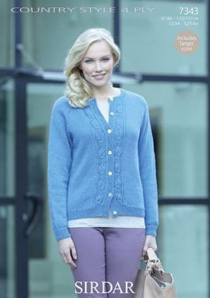 Sirdar Country Style 4 ply Cardigan Knitting Pattern 7343