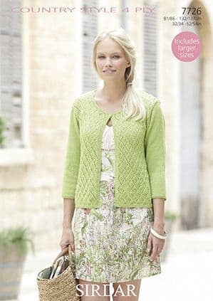 Sirdar Country Style 4 ply Cardigan Knitting Pattern 7726