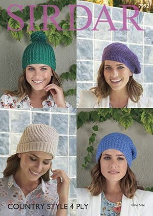 Sirdar Country Style 4 ply Hats Knitting Pattern 7992