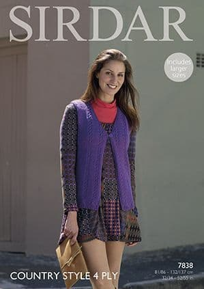 Sirdar Country Style 4 ply Waistcoat Knitting Pattern 7838