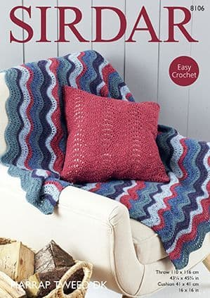 Sirdar DK Wave Blanket and Cushion Crochet Pattern 8106