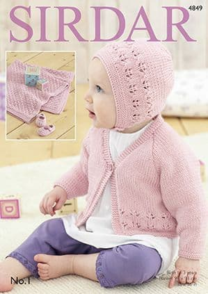 Sirdar No.1 Baby Pink Set Knitting Pattern 4849