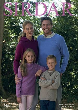 Sirdar No.1 Family Sweaters Knitting Pattern 8051