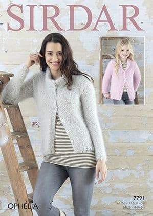 Sirdar Ophelia Fluffy Cardigans Knitting Pattern 7791 REDUCED £1
