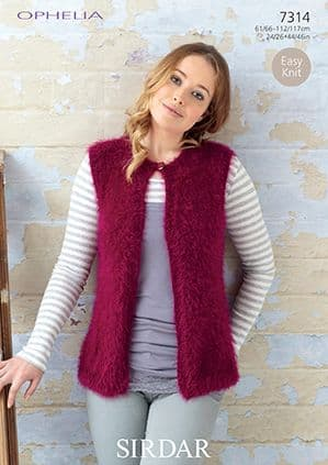 Sirdar Ophelia Fur Gilets Knitting Pattern 7314 REDUCED £1