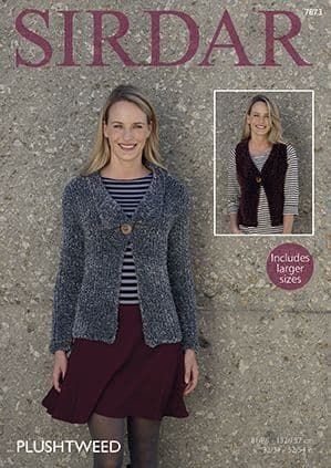 Sirdar Plushtweed Jacket and Waistcoat Knitting Pattern 7873 REDUCED £1