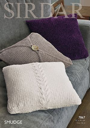 Sirdar SMUDGE Cushion Covers Knitting Pattern 7867