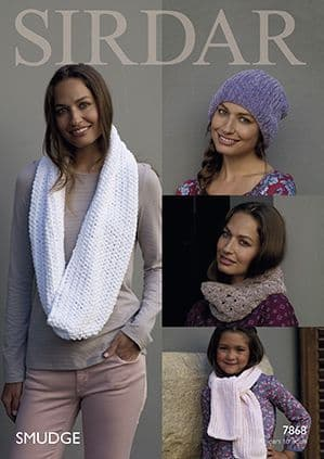 Sirdar SMUDGE Hat Scarf and Snoods Knitting Pattern 7868