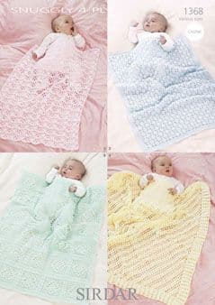 Sirdar Snuggly 4ply BLANKETS and SHAWL Crochet Pattern 1368