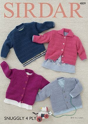 Sirdar Snuggly 4ply Cardigans and Sweater Knitting Pattern 4809