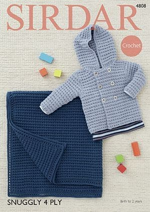 Sirdar Snuggly 4ply Hooded Jacket and Blanket Crochet Pattern 4808