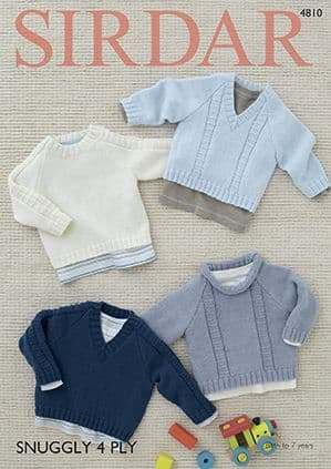 Sirdar Snuggly 4ply Sweaters Knitting Pattern 4810