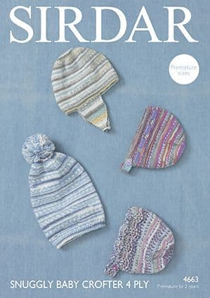 Sirdar Snuggly Baby Crofter 4 Ply Hats Knitting Pattern 4663