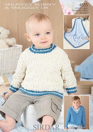 Sirdar Snuggly Bubbly and DK Sweaters Blanket Knitting Pattern 4555