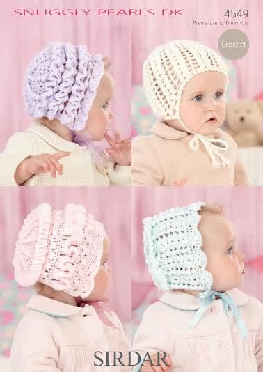 Sirdar Snuggly Pearls DK Baby Bonnets and Helmet Crochet Pattern 4549