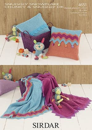 Sirdar Snuggly Snowflake Chunky Blankets Cushions Baby Knitting Pattern 4651