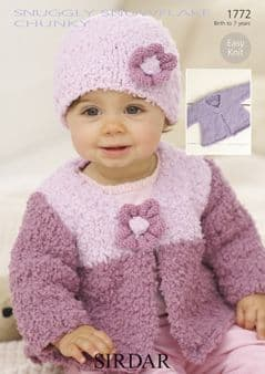 Sirdar Snuggly Snowflake Chunky Cardigans and Hat Knitting Pattern 1772