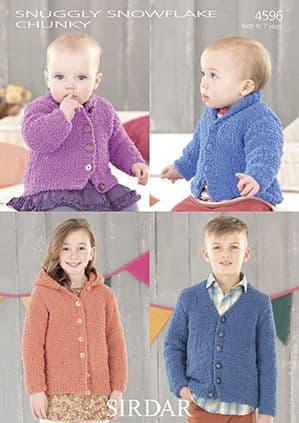 Sirdar Snuggly Snowflake Chunky Cardigans Knitting Pattern 4596