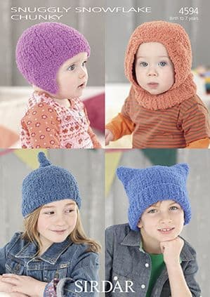 Sirdar Snuggly Snowflake Chunky Hats Baby Knitting Pattern 4594