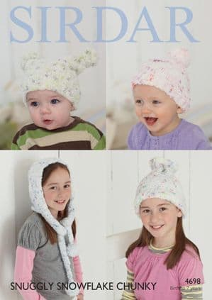 Sirdar Snuggly Snowflake Chunky Hats Baby Knitting Pattern 4698