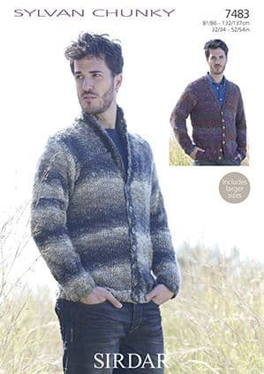 Sirdar Sylvan Mens Cardogans Knitting Pattern 7483 REDUCED £1