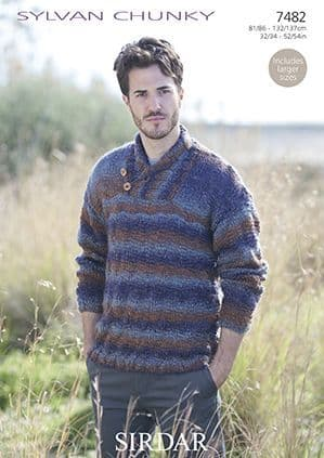Sirdar Sylvan Mens Sweater Knitting Pattern 7482 REDUCED £1