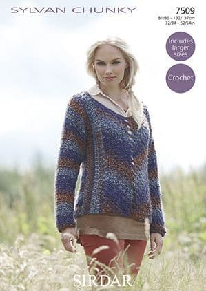 Sirdar Sylvan Sweater Crochet Pattern 7509 REDUCED £1