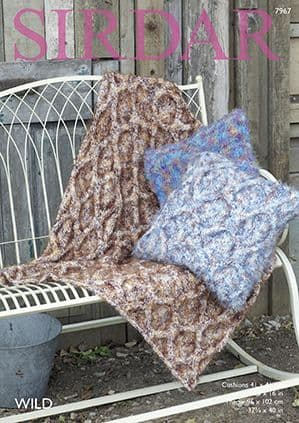Sirdar Wild Cushions and Throws Knitting Pattern 7967 REDUCED £1